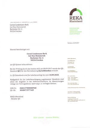 QS Zertifikat 10092020